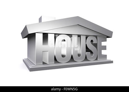 3d silver house on white background, real estate. - Stock Photo