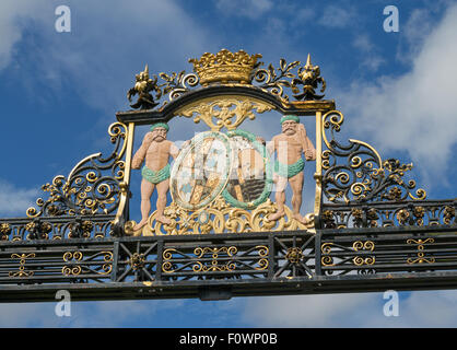 Coat of Arms above the entrance to Floors Castle Kelso, Scottish Borders, Scotland, UK - Stock Photo
