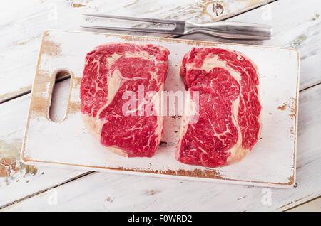 Raw fresh Ribeye Steak. Top view - Stock Photo
