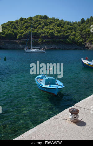 A small fishing boat in the harbour  at Assos on the  Greek Island of Kefalonia, home to the film, 'Captain Corelli's - Stock Photo
