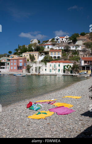 The harbour and beach in the Bay of Assos on the Greek Island of Kefalonia, home to the film, 'Captain Corelli's - Stock Photo