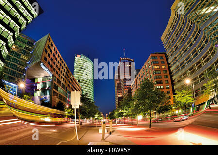 Germany, Berlin: Contemporary architecture at Potsdamer Platz by night - Stock Photo