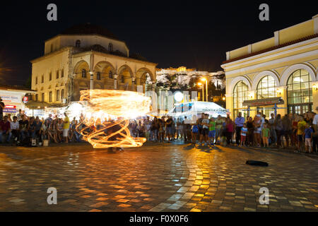 Night fire show at the mosque in Monastiraki square in Athens - Stock Photo