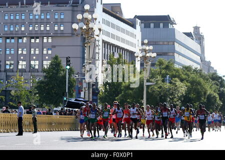 Beijing, China. 22nd Aug, 2015. Atletes compete in the men's marathon at the 15th IAAF World Championships in Athletics. - Stock Photo