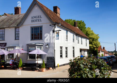 The Angel Hotel, Market Place, Lavenham, Suffolk, UK - Stock Photo