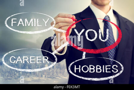 Your life balanced between your family, hobbies and career - Stock Photo