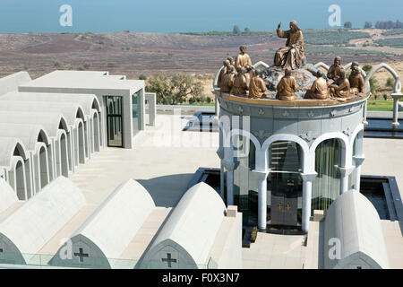 Domus Galilaeae church and monastery with Kinneret sea - Stock Photo