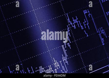 Stock market chart on blue background - Stock Photo