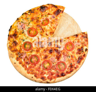 Home made pizza on board isolated - Stock Photo