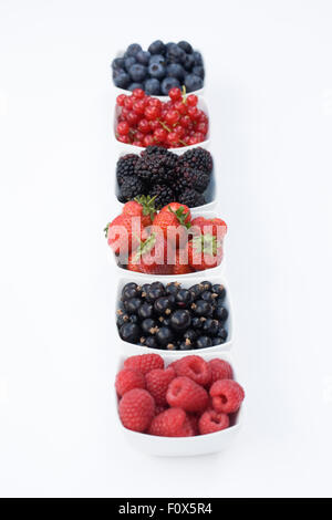 Redcurrants, Blackcurrants, Blackberries, Strawberries, Raspberries and Blueberries in white bowls on a white background. - Stock Photo