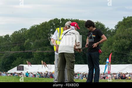 Durdham Down, Bristol, UK.  Saturday 22nd August 2015.   The annual Bristol International Kite Festival has moved - Stock Photo