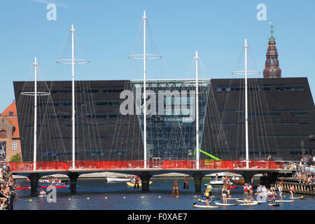 Copenhagen, Denmark. 22nd August, 2015. In a festive ceremony the Cirkelbroen, the Circle Bridge spanning Christianshavn - Stock Photo