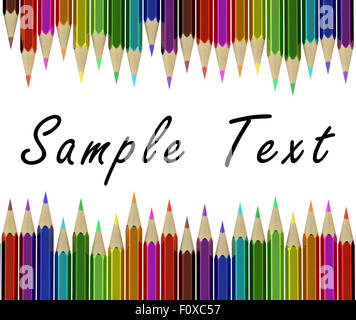Assortment of coloured pencils isolated on white background - Stock Photo