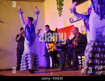Female Flamenco dancers on stage with musicians at night in an outdoor courtyard in Cordoba Spain - Stock Photo