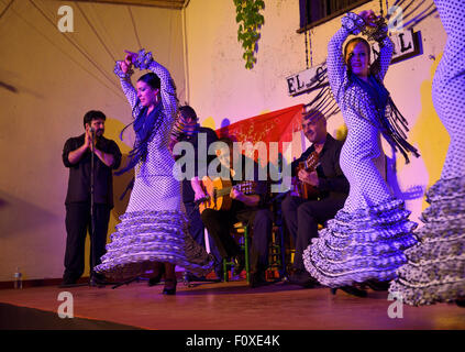 Spinning female Flamenco dancers on stage at night in an outdoor courtyard in Cordoba Spain - Stock Photo