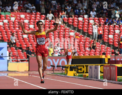 Beijing, China. 23rd Aug, 2015. Spain's Miguel Angel Lopez celebrates during the men's 20km race walk final at the - Stock Photo