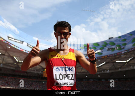 Beijing, China. 23rd Aug, 2015. Spain's Miguel Angel Lopez celebrates winning the men's 20km race walk final at - Stock Photo