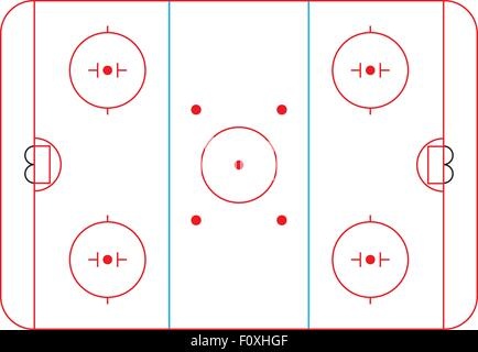 Ice Hockey Rink With Blue Red Skate Marks Vector Background Stock