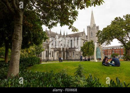 Park, St´Patrick´s Cathedral, Dublin, Ireland, Europe - Stock Photo