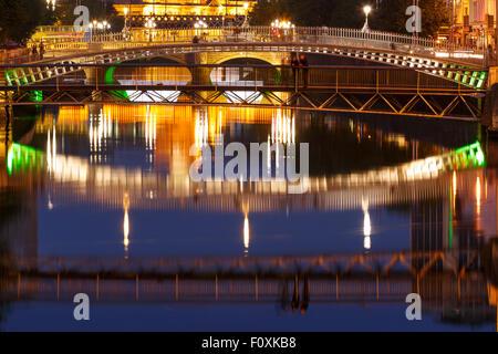 Ha Penny bridge and Liffery river. Dublin. Ireland. Europe - Stock Photo