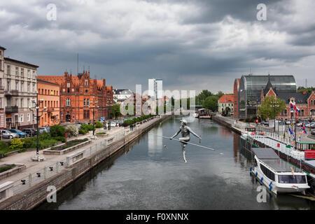 City of Bydgoszcz along Brda river in Poland. - Stock Photo