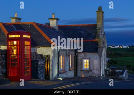 Telephone and building. Giant´s Causeway, County Antrim, North Ireland, United Kingdom, Europe Ireland, United Kingdom, - Stock Photo