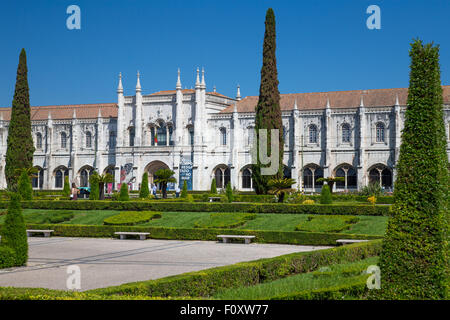 Mosteiro dos Jerónimos, the monastery at Belem, Lisbon, Portugal - Stock Photo