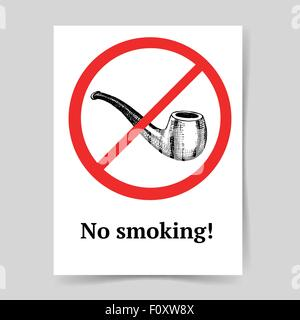 Sketch no smoking sign in vintage style, vector poster - Stock Photo