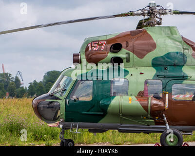 military helicopter at exhibition in Riga, Latvia - Stock Photo