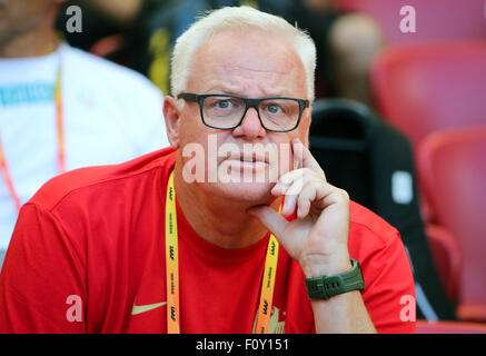 Beijing, China. 22nd Aug, 2015. Germany's Heptathlon Coach Wolfgang Kuehne pictured during the 15th International - Stock Photo