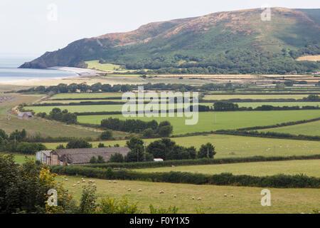 View of Bossington Hill across Porlock Bay from the Coleridge Way near Porlock - Stock Photo
