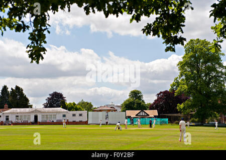A cricket match in progress at the famous Vine cricket ground in Sevenoaks, Kent, UK - Stock Photo