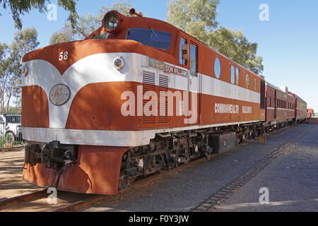ALICE SPRINGS, AUSTRALIA - MAY 3, 2015: Old Ghan train on the Heritage Railway Museum on May 3, 2015 in Alice Springs, - Stock Photo