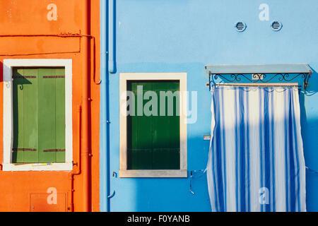 Pipes striped curtain and shutters Burano Venetian Lagoon Veneto Italy Europe Stock Photo