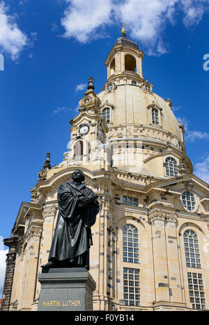 The Martin Luther statue in front of the Frauenkirche, Dresden, Saxony, Germany - Stock Photo