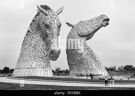 The Kelpies in the Helix Park, Falkirk, Scotland, United Kingdom - Stock Photo