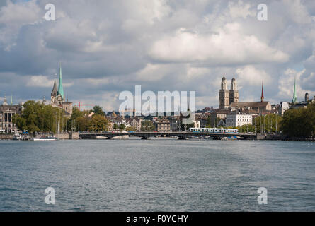 Panoramic view of Zurich, seen from lake Zurich, looking downstream the river of Limmat. - Stock Photo