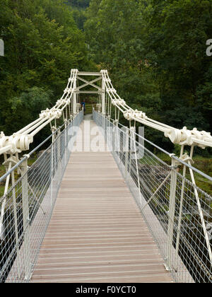 Chain Bridge over the River Dee in Berwyn Llangollen Denbighshire Wales UK - Stock Photo