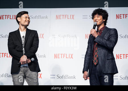 (L to R) Members of Comedian Group Shinagawa Shoji, Hiroshi Shinagawa and Tomoharu Shoji attend a media event to - Stock Photo