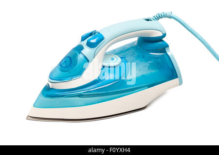 iron housework ironed electric tool clean white background ironing steam housekeeping - Stock Photo