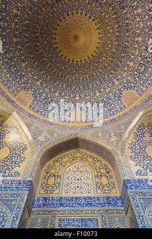 Prayer hall of the Sheikh Lotfollah Mosque, Esfahan, Iran - Stock Photo