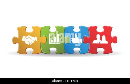Puzzle with business icon - Stock Photo