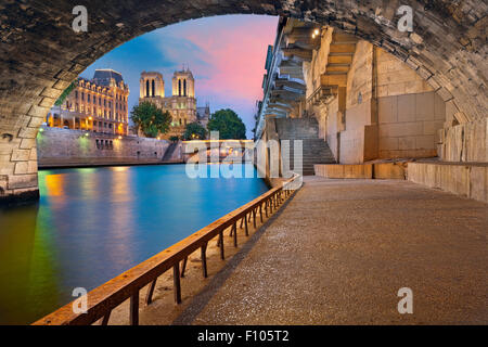 Paris.  Image of the Notre-Dame de Paris Cathedral and riverside of Seine river in Paris, France. - Stock Photo