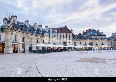 Cafes and restaurants facing the Place de la Libération, Liberation Square, in Dijon Burgundy - Stock Photo