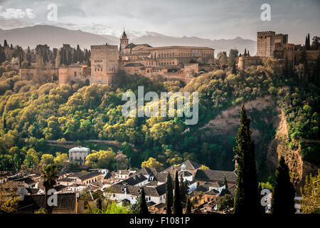 View of The Alhambra from Albaicin quarter, mirador de San Nicolas, Granada, Andalusia, Spain - Stock Photo
