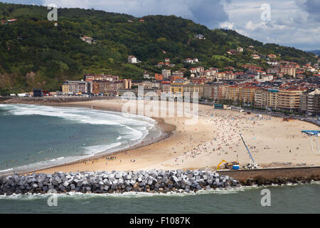 Zurriola beach in San Sebastian, Basque Country, Spain. - Stock Photo