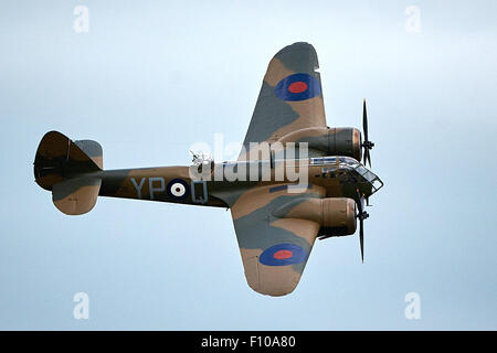 A Bristol Blenheim twin-engined Mk1 bomber flies at the 2015 Bicester Flywheel festival. - Stock Photo