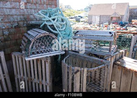 empty lobster cages Nova Scotia Canada - Stock Photo
