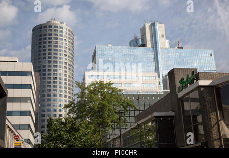 High rise modern office block buildings in central Rotterdam, Netherlands - Stock Photo