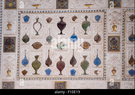 Jaipur, India. The Amber fort, semi precious stone in the shape of bottles inlay work. - Stock Photo